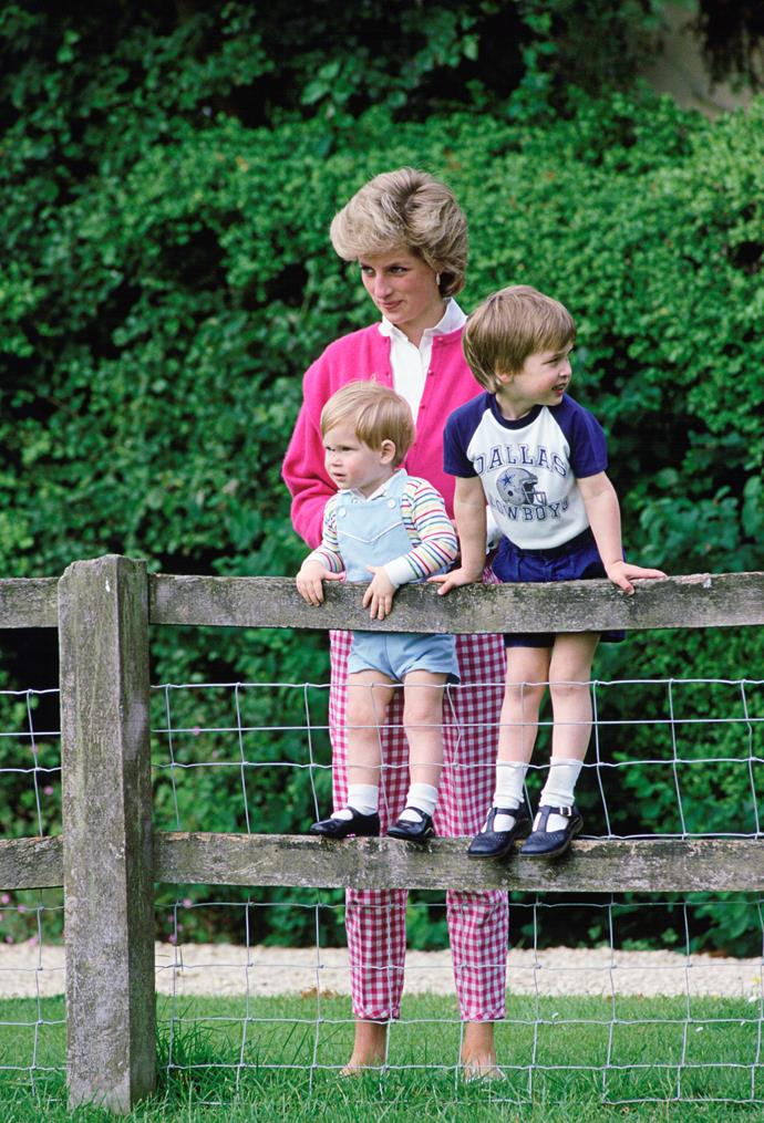 Here, Diana and her sons are pictured at the Highgrove Royal Gardens in 1986.
