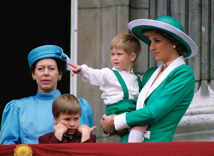 Harry matches his mother as they take in the annual Trooping The Colour parade at Buckingham Palace in 1988.