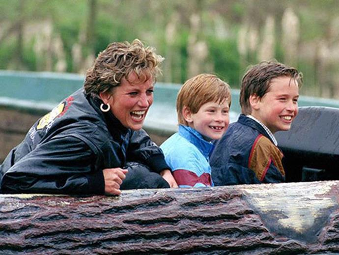 The trio are all smiles as they visit an amusement park in 1993.