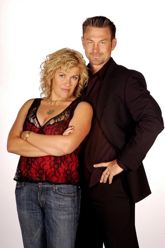 Robyn and Grant Bowler as Cheryl and Wolf in *Outrageous Fortune*