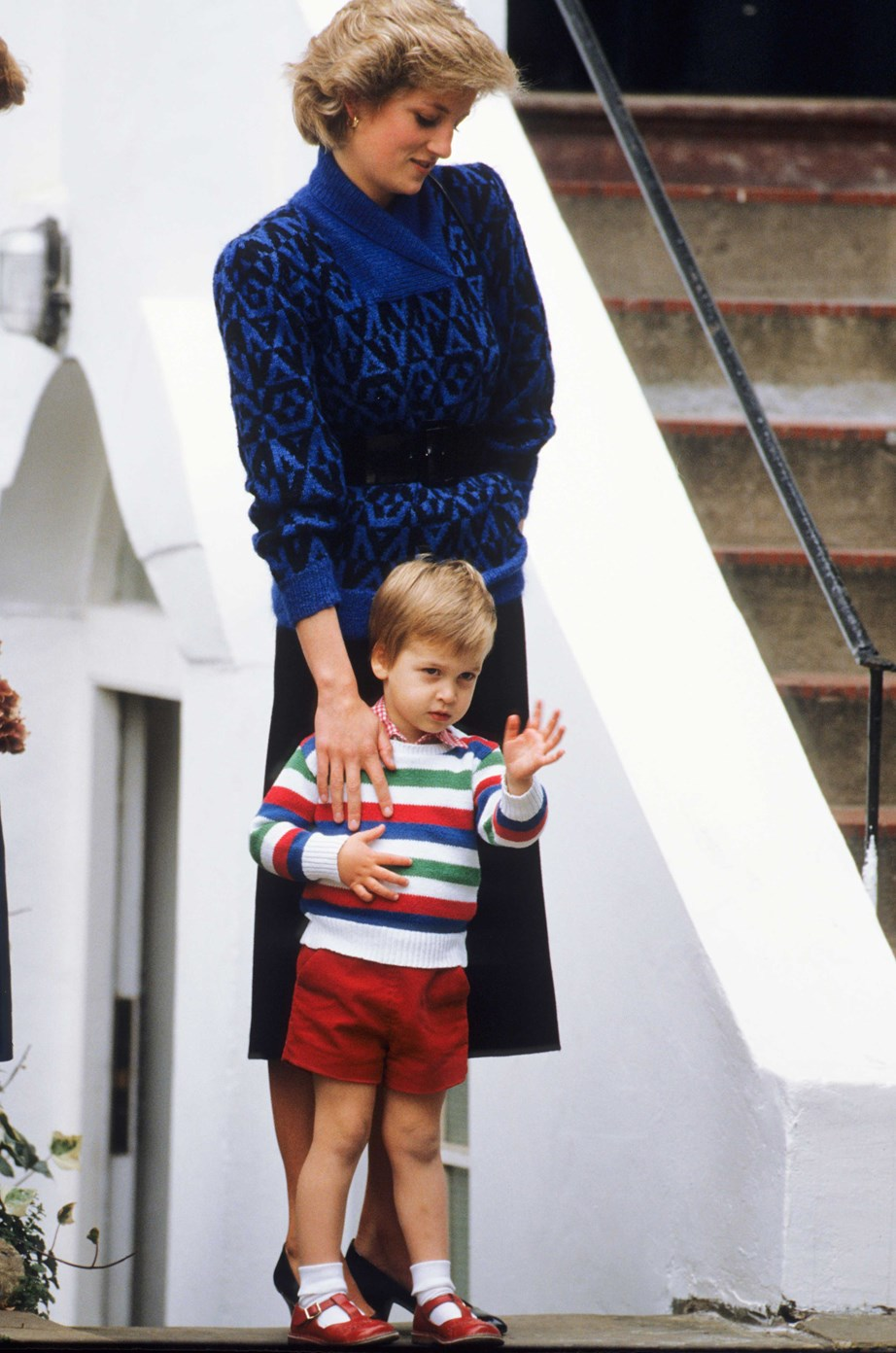 "**Prince William, 1985** <br><br> Dressed in a colourful striped top, young William waves to the press before [starting his first day at Chepstow Villas](https://www.nowtolove.co.nz/celebrity/royals/prince-williams-first-day-at-school-34067|target=""_blank""). He also became the first royal to attend a public kindergarten. <br><br> *(Image: Getty)*"