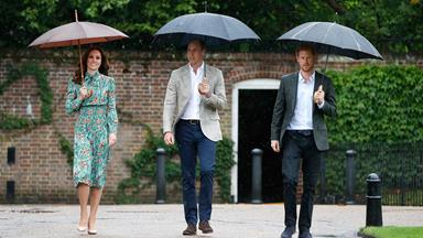 Prince William, Duchess Catherine and Prince Harry visit Princess Diana's memorial