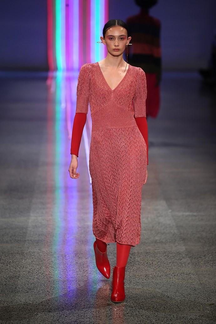 A model walks down the runway at Kate Sylvester.
