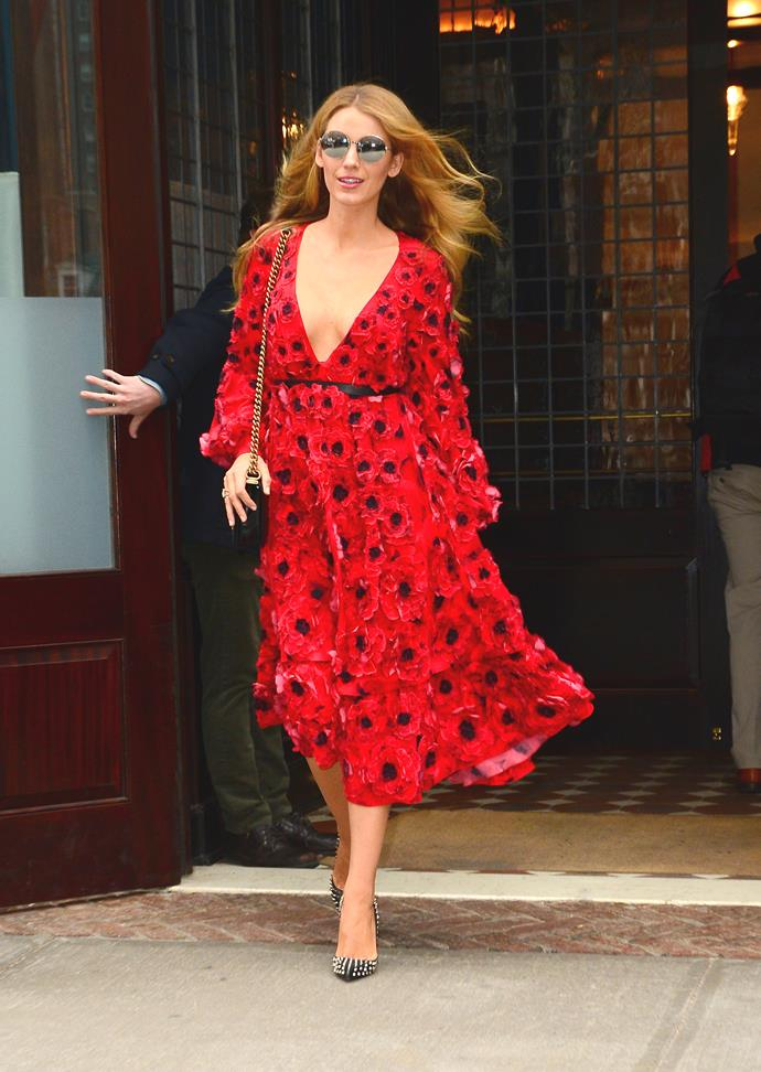 Blake Lively was a vision in red leaving a hotel in Soho.