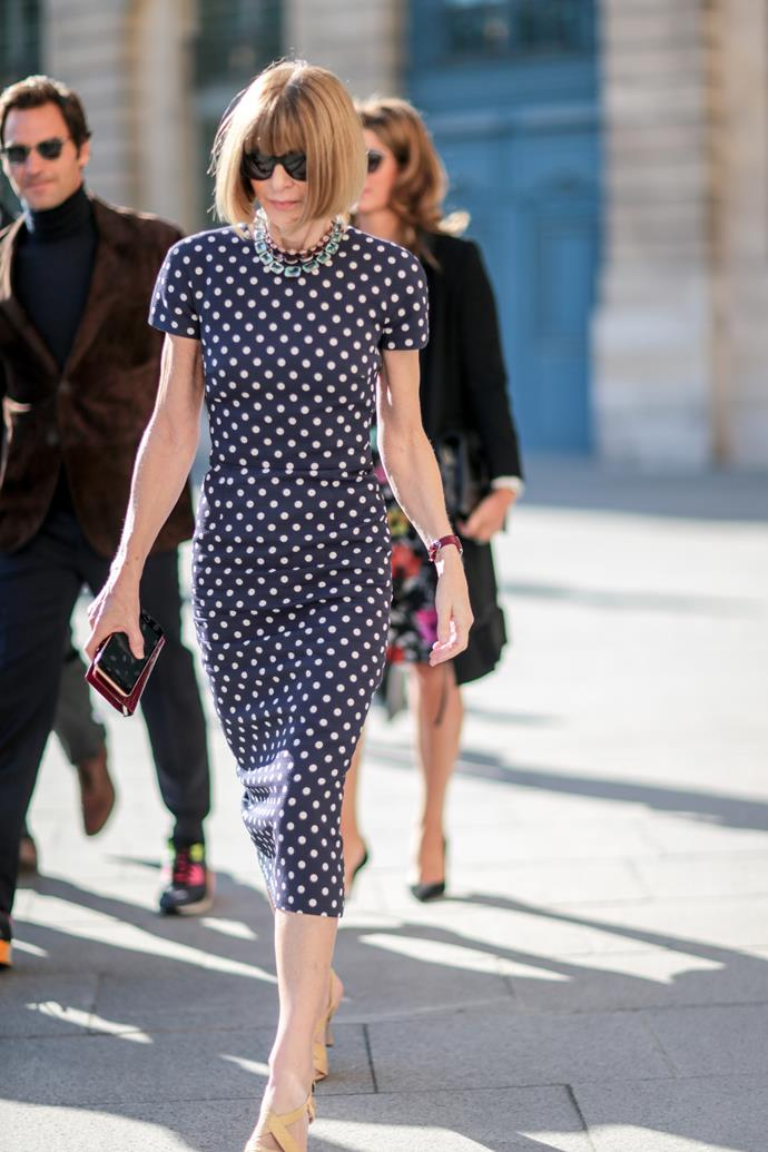 The Queen of fashion herself, Anna Wintour was spotted at Paris Fashion Week in timeless polkadots.