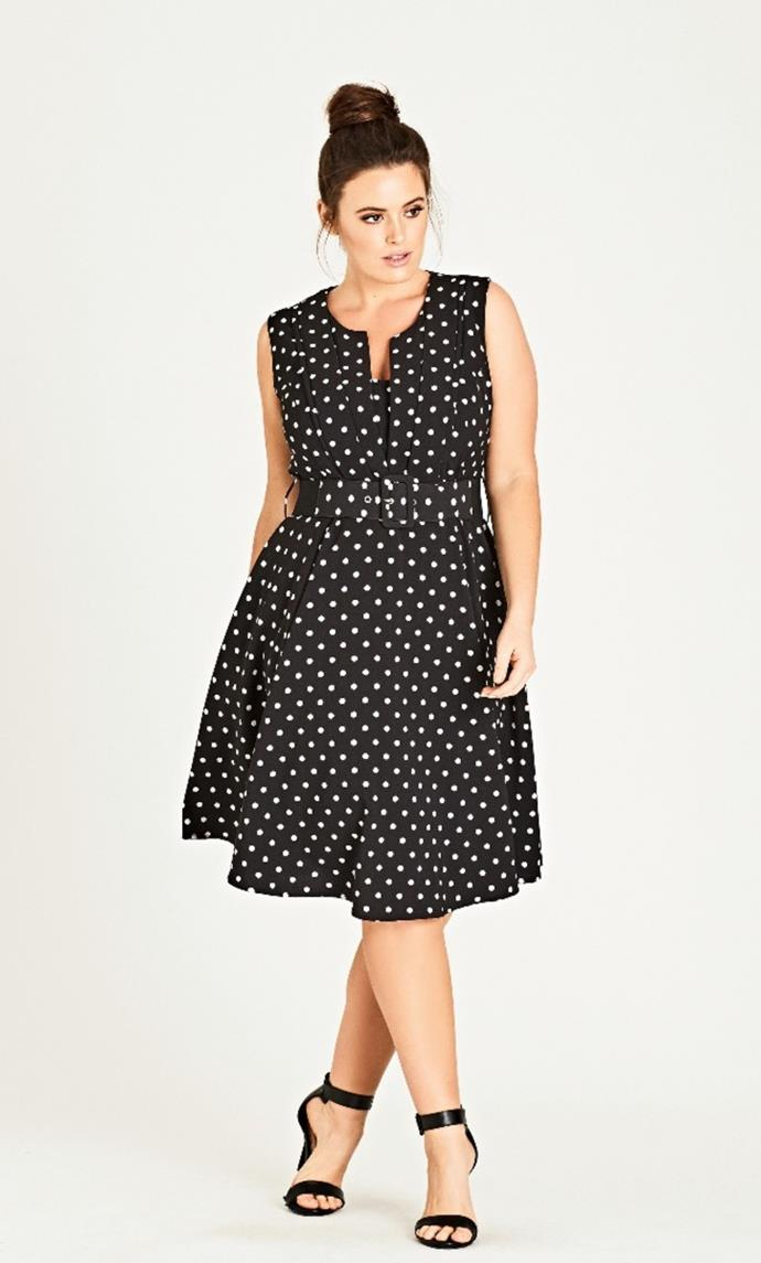 """Shop her look at [City Chic](https://www.citychic.com/au/shop/vintage-spot-dress/p/00111541_001