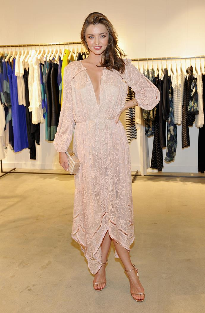 Model and mum Miranda Kerr was pretty in pink at a store opening in Los Angeles.