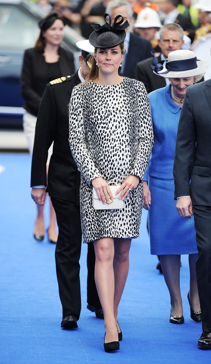 In June 2013, when she was pregnant with Prince George, the Duchess attended the naming ceremony for a Princess Cruises ship in Southampton, England, wearing this stylish dalmatian-print dress.