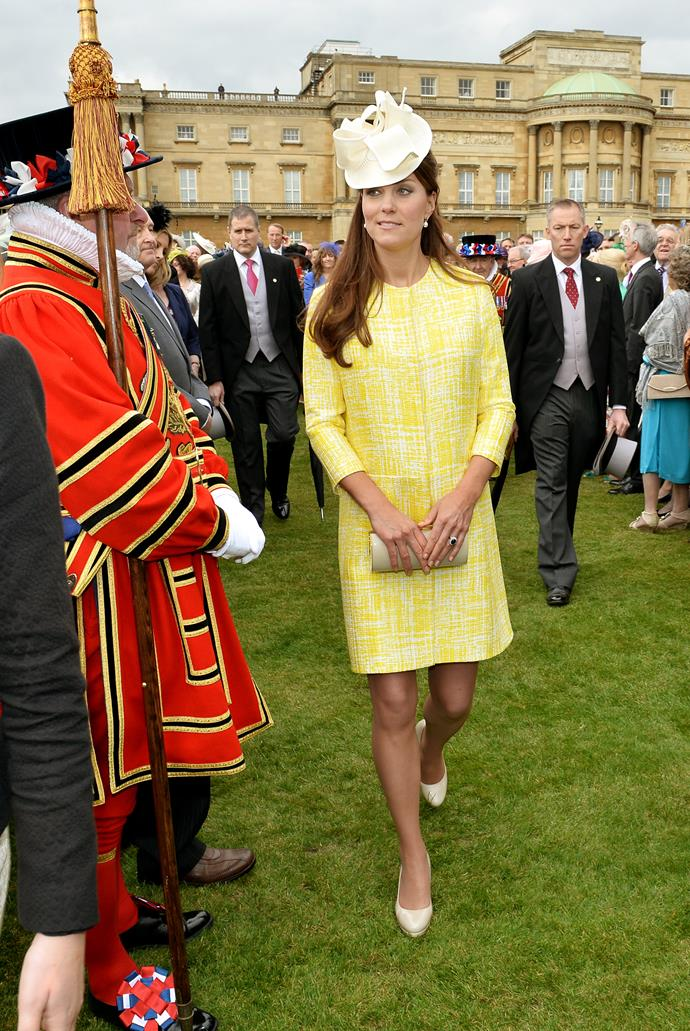 In May of 2013, Duchess Catherine sported a sunshine-yellow dress for a garden party at Buckingham Palace.