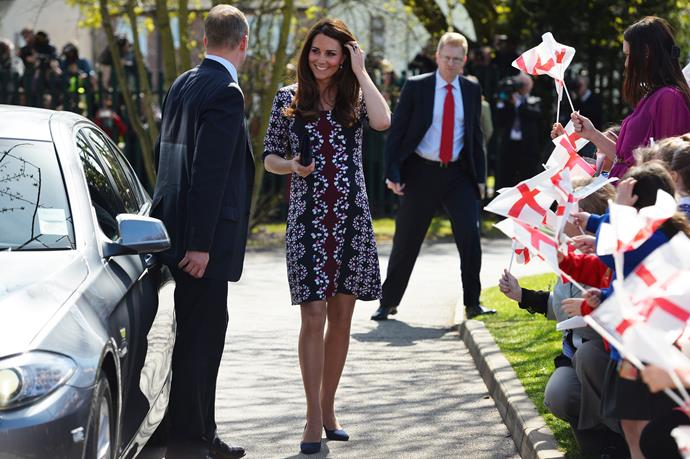 The Duchess wore a vibrant Erdem design to visit the Willows Primary School in Wythenshawe, Manchester.