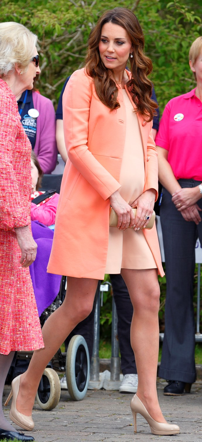 Stepping out in a peach shift and matching Tara Jarmon jacket, the Duchess wowed as she visited the Naomi House Children's Hospice in Winchester.