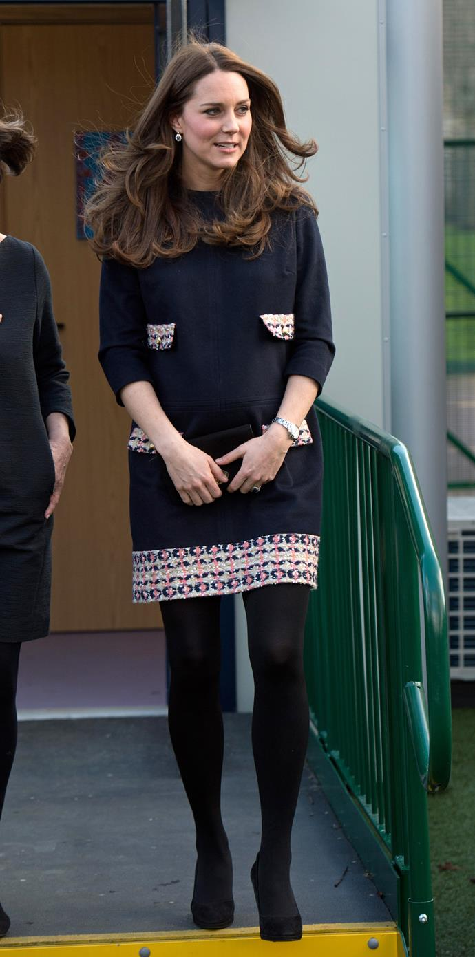 The Duchess kept things cosy and stylish during a visit to Barlby Primary School in 2015.