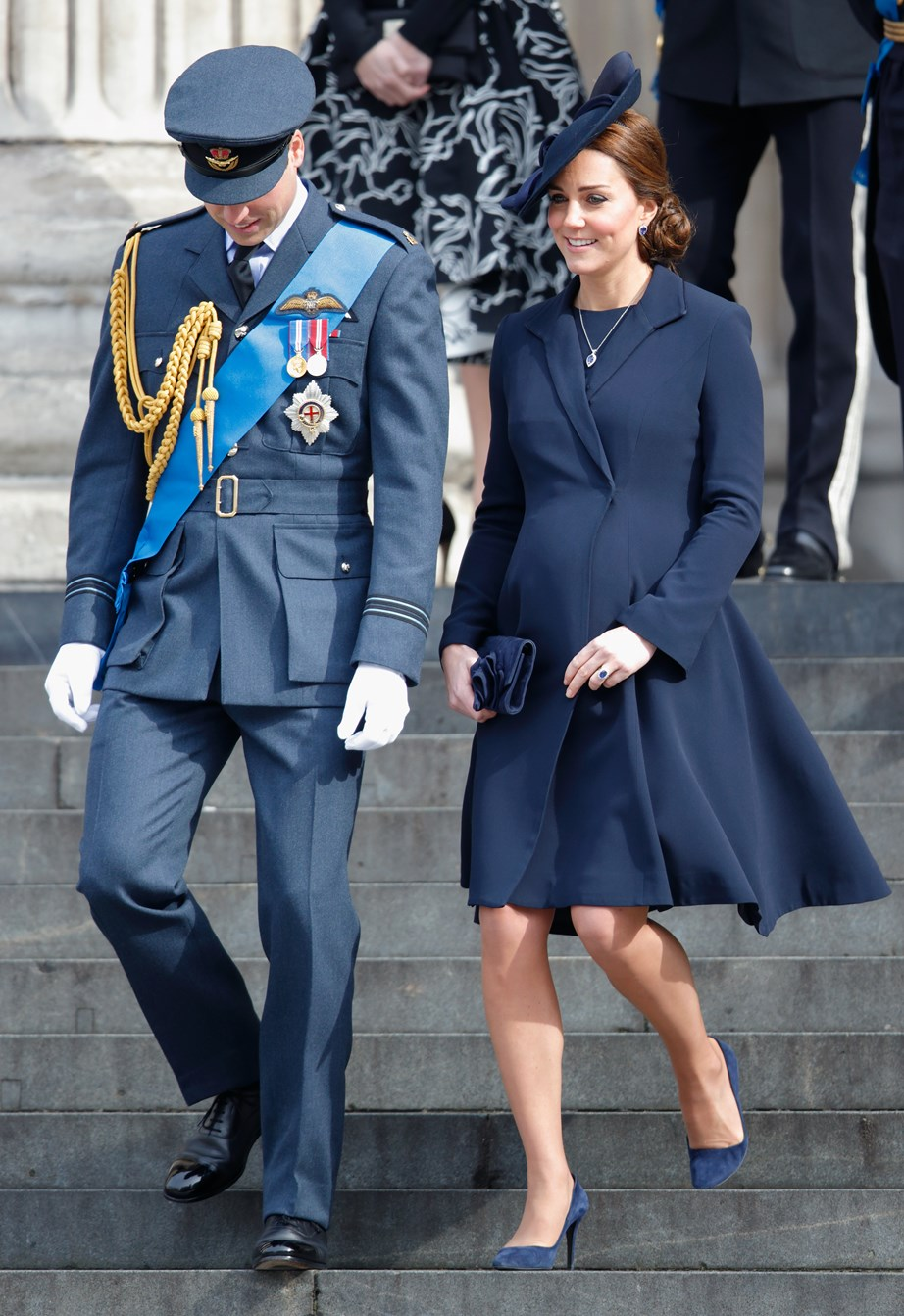 **Duchess Catherine, 2015**  While pregnant with Princess Charlotte, the Duchess of Cambridge opted for an all-blue ensemble at the St Paul's Cathedral of Commemoration. *(Image: Getty)*