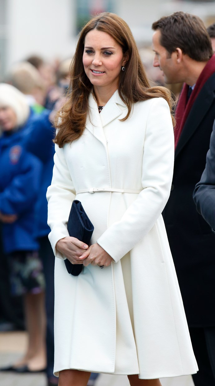 Keeping to classic white, the royal wowed in this elegant coat-dress.