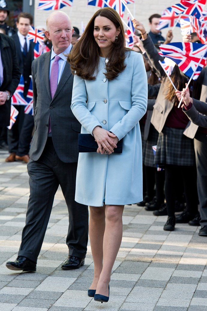 In January of 2015, Duchess Catherine wore this elegant powder blue coat-dress to officially open the Kensington Leisure Centre in London.