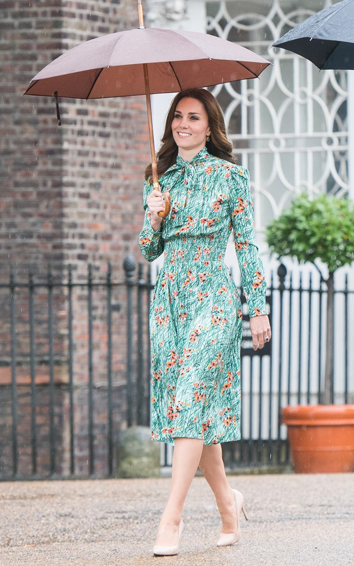"At her last public appearance before the [news of the royal baby](http://www.nowtolove.co.nz/celebrity/royals/prince-william-duchess-catherine-expecting-third-child-34123|target=""_blank"") was announced, Kate stunned in a poppy-print Prada to visit the Sunken Garden at Kensington Palace, on the eve of the anniversary of Princess Diana's death."