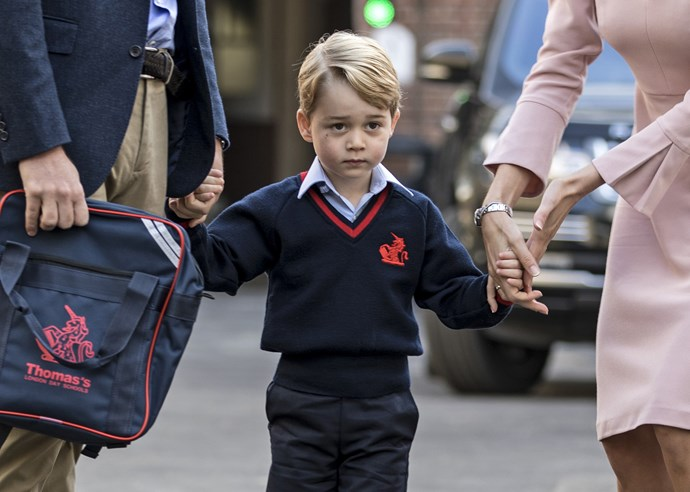 Prince William dropped his son off to school. Doesn't George look cute in his uniform?