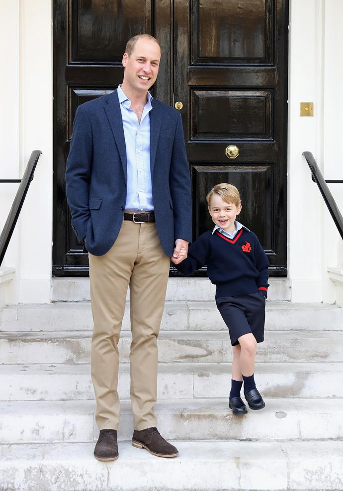 """The palace released this official portrait to mark the momentous occasion. Photographer Chris Jackson revealed, """"The first day of school is an exciting time for any child, and it was great to see Prince George with a big smile on his face next to Dad, The Duke of Cambridge, ahead of their first school run together."""""""