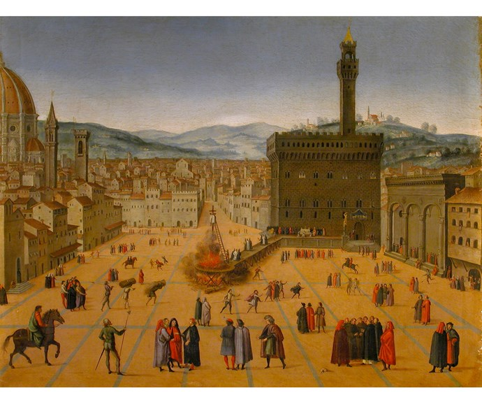 Florentine Painter after Francesco Rosselli, The Execution of Savonarola and Two Companions at Piazza della Signoria 16th–17th century, oil on canvas, Florence, Galleria Corsini.