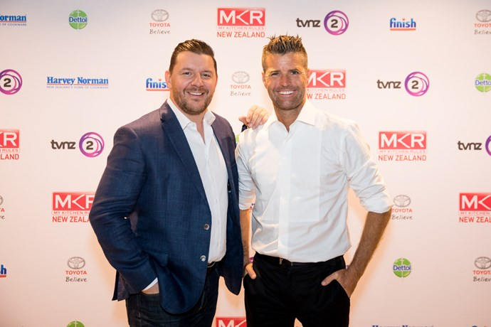 Chefs and host of My Kitchen Rules New Zealand, Manu Feildel and Pete Evans.