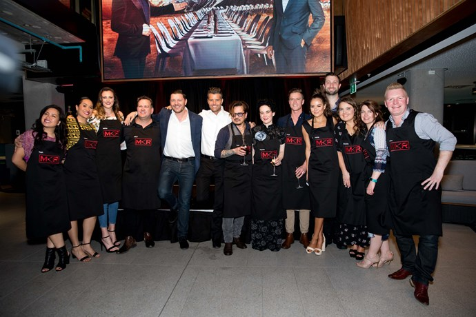 All the contestants from My Kitchen Rules NZ with judges Manu Feildel and Pete Evans.
