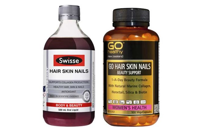 **Try:** Swisse Ultiboost Hair Skin Nails, $45.Go Healthy Go Hair Skin Nails, $50 (100 capsules).