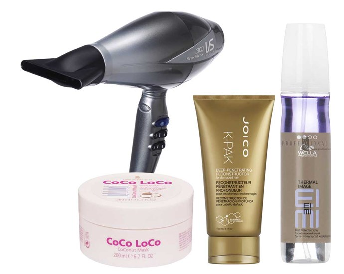 **Evans' picks:** VS Sassoon 3Q Brushless Digital Dryer, $250. Lee Stafford CoCo LoCo CoConut Mask, $17. Joico K-Pak Deep Penetrating Reconstructor, $33. Wella Professionals EIMI Thermal Image Heat Protection Spray, $27.