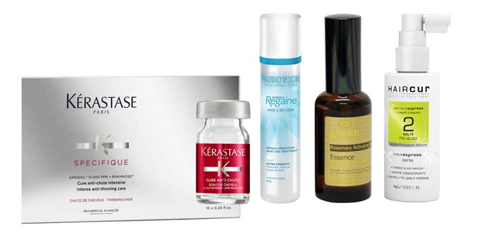 Kérastase Specifique Aminexil, $275 (six-week supply). Women's Regaine Foam, $86 (two-month supply). Angel en Provence Rosemary Activating Regrowth Essence, $54. Haircur Hair Express Spray, $44.
