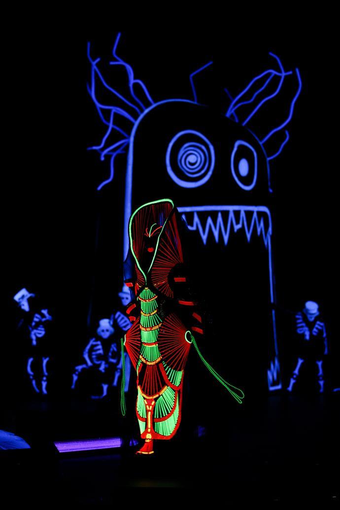 'The Spirit of Waitomo' by Maria Tsopanaki and Dimitri Mavinis of the United Kingdom is modelled in the Illumination Illusion Section: Float, Fly, Flow