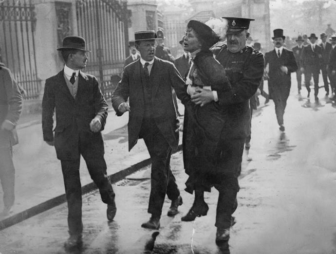 Emmeline being arrested.