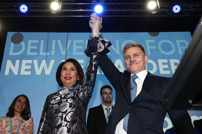 The couple on stage at the National Party's election night function.