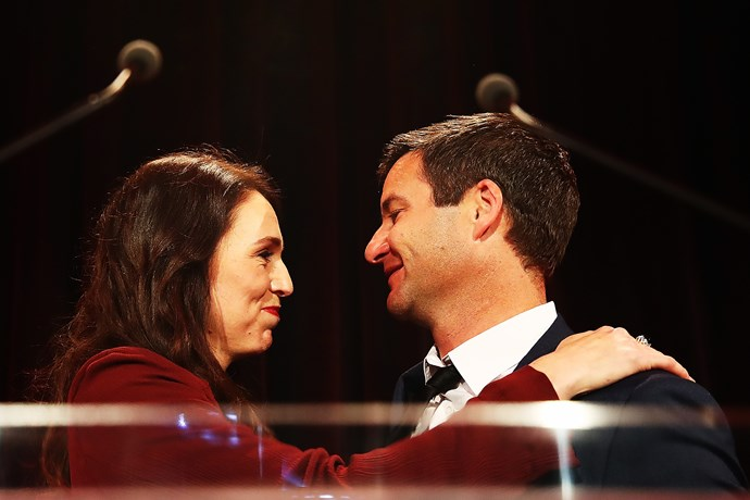 Jacinda and Clarke on election night.