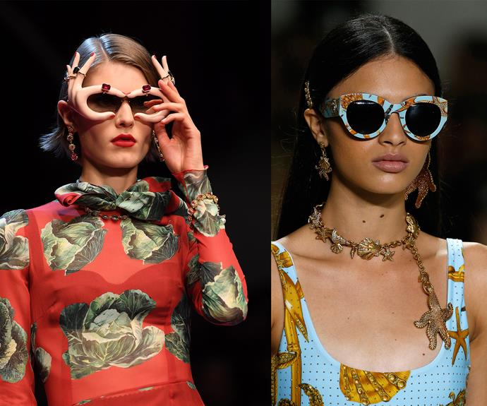 Shades to make you smile at Dolce & Gabbana (left) and Versace (right).