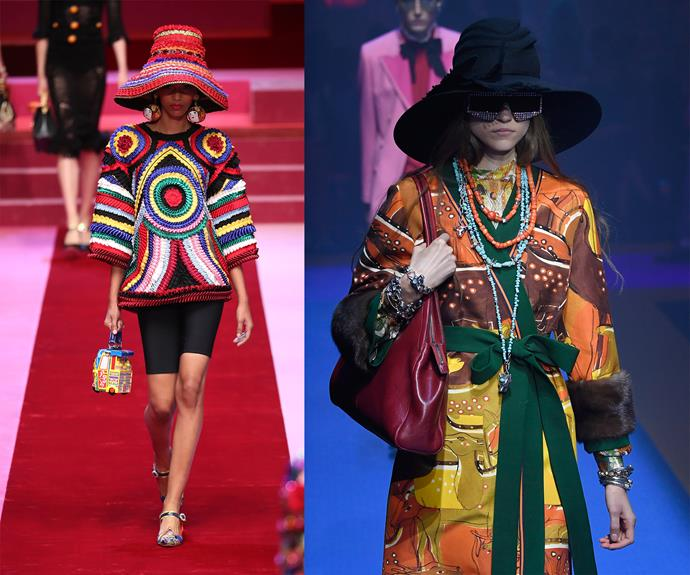 Big brims spotted at Dolce & Gabbana (left) and Gucci (right).