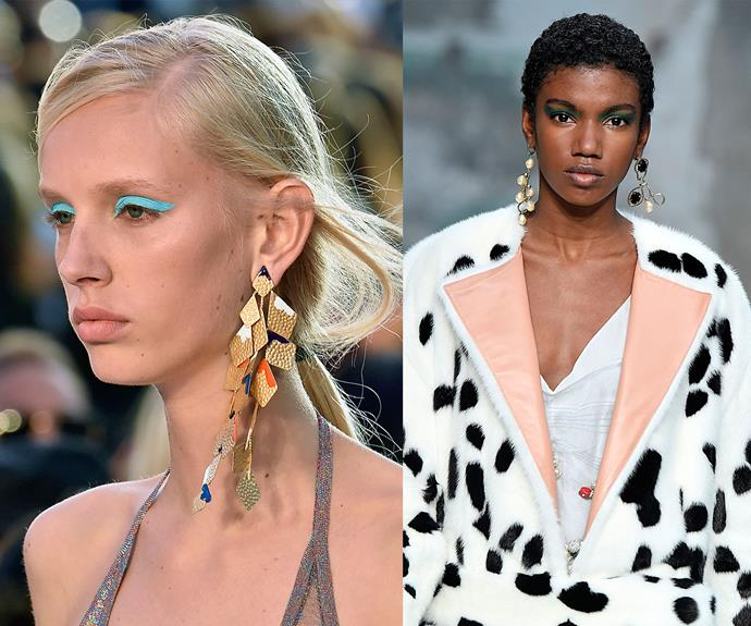 Statement earrings at Missoni (left) and Marni (right).