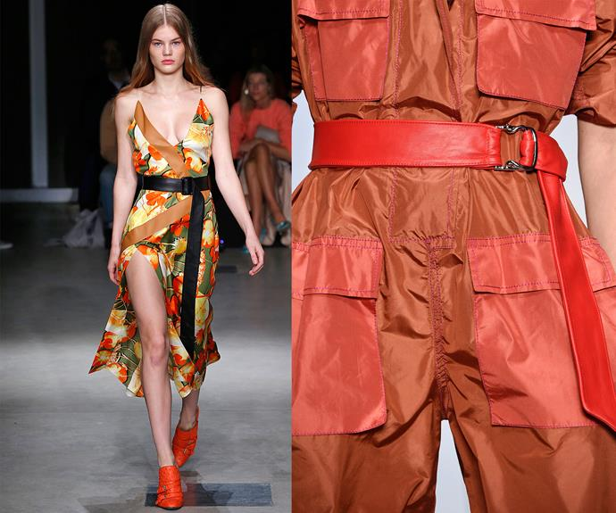 Leg lengthening belts on models at Trussardi (left) and Laura Biagiotti (right).