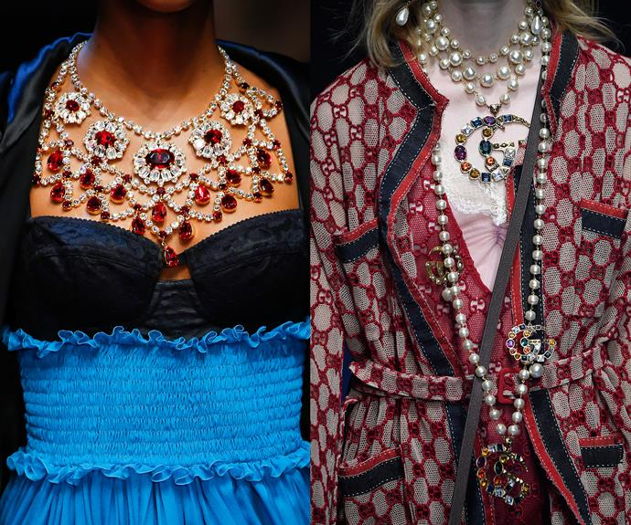 Big webs of gems at Dolce & Gabbana (left) and Gucci (right).
