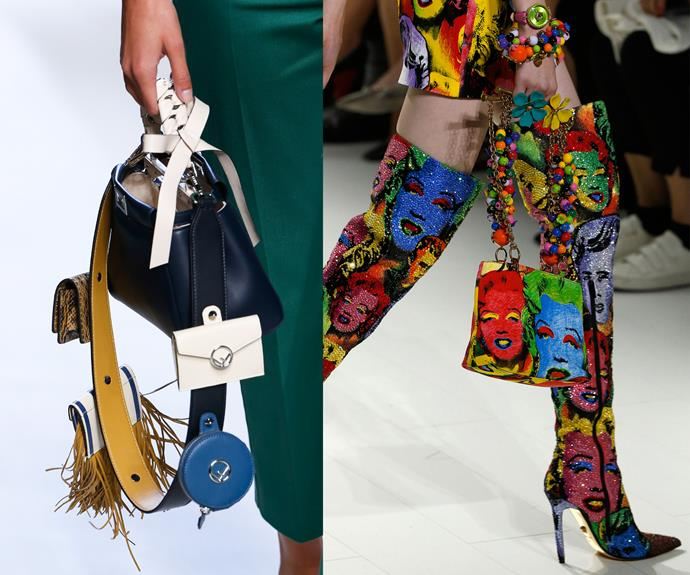Colourful straps with all the add-ons at Fendi (left) and Versace (right).