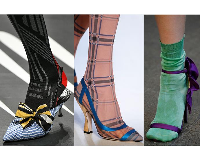 Sweet sock statements at Prada (left), Fendi (centre) and MSGM (right).