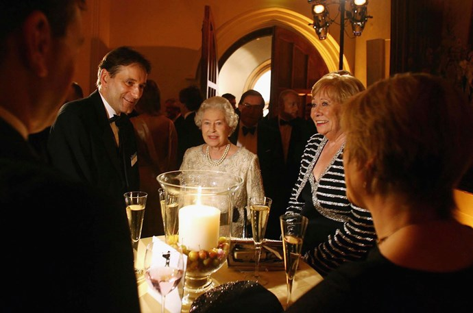 Liz Dawn with Queen Elizabeth IIat the ITV 50th Anniversary celebration in 2005.