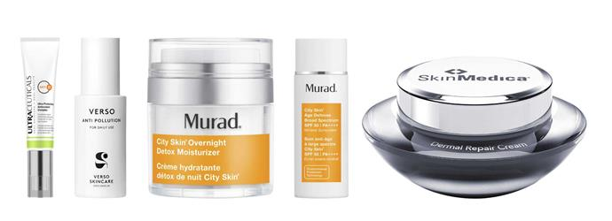 Ultraceuticals Ultra Protective Antioxidant Complex, $104. Verso Anti Pollution mist, $63. Murad City Skin Overnight Detox Moisturizer, $139. Murad City Skin Age Defense Broad Spectrum SPF 50, $139. SkinMedica Dermal Repair Cream, $207.