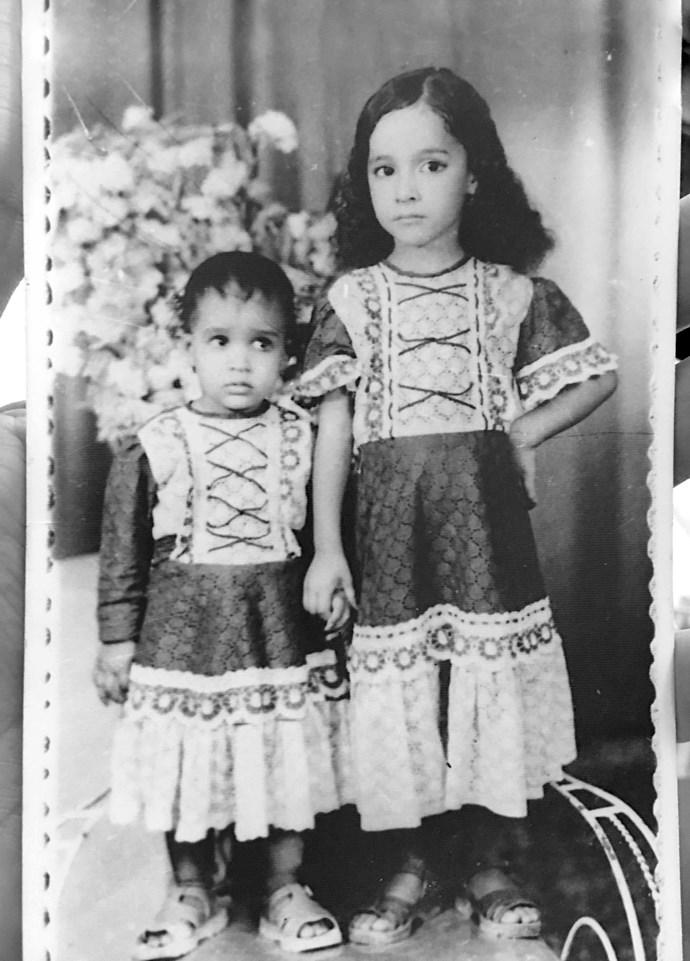 Manal with elder sister Muna.