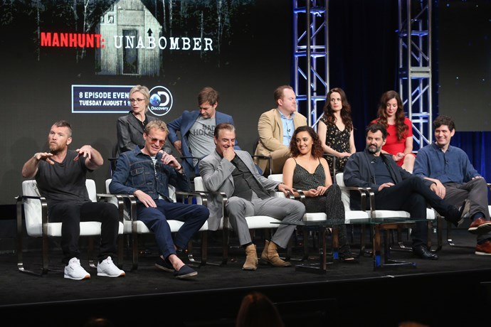 The *Manhunt: Unabomber* cast at TCA Summer Event.