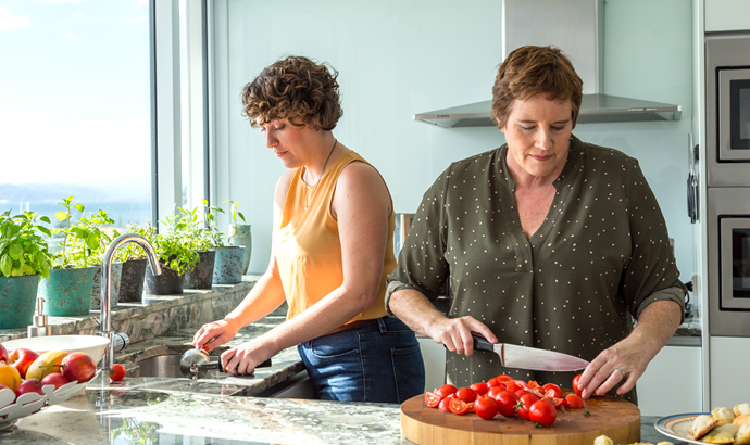 Rebecca, left, and Ange. The pair started Pomegranate Kkitchen to help empower refugees.