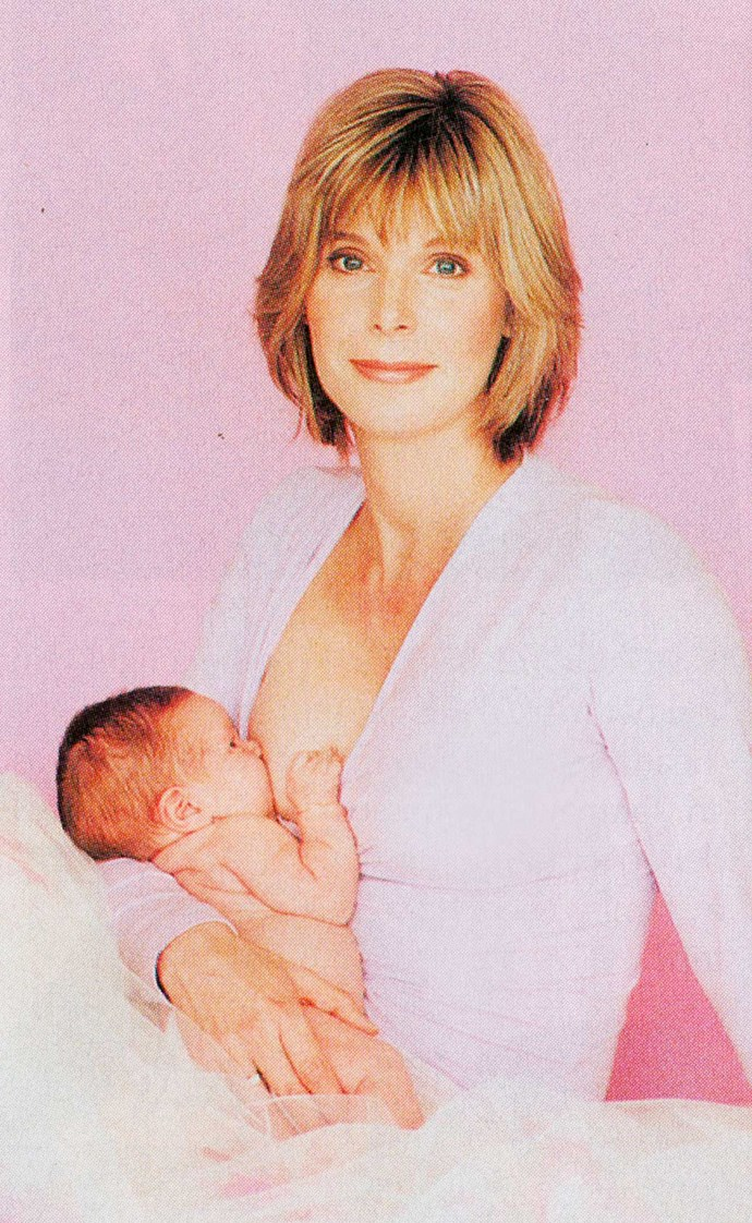 The presenter caused a bit of a stir with this picture of nursing Rosie in 2003.