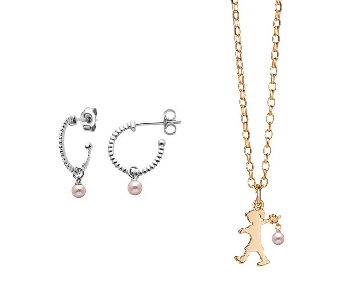 To celebrate Karen Walker's Runaway Girl emblem's Sweet 16 the brand has just released the Girl with a Pearl collection, featuring a Runaway Girl sporting a pearl rather than a rucksack, as well as other jewellery items with a single, dangling pearl.   From left: Earrings, $239, and necklace, $1,699, by [Karen Walker](https://www.karenwalker.com/jewellery/collections/pearls/girl-with-a-pearl-limited-edition-silver-kw327pnstg/silver).