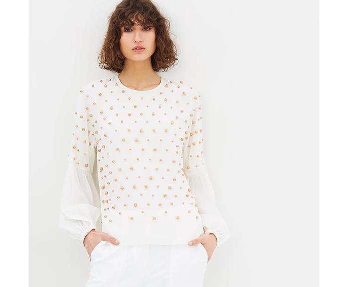 Who said pearls have to be white? These bronze pearl bead embellishments create a sophisticated colourway for this sheer Manning Cartel blouse. At once opulent and effortless, shirts dotted with pearl beading can be worn with casual summer pants or work-ready trousers.   Manning Cartel top, AU$449, from [The Iconic](https://www.theiconic.co.nz/baroque-pearl-top-486043.html)