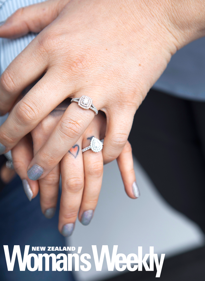 The pair have sealed their engagement with beautiful diamond rings.