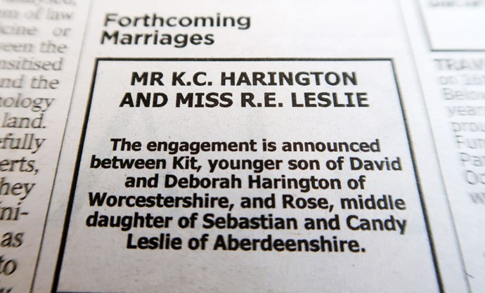 Harrington and Leslie's newspaper engagement announcement - adorable!