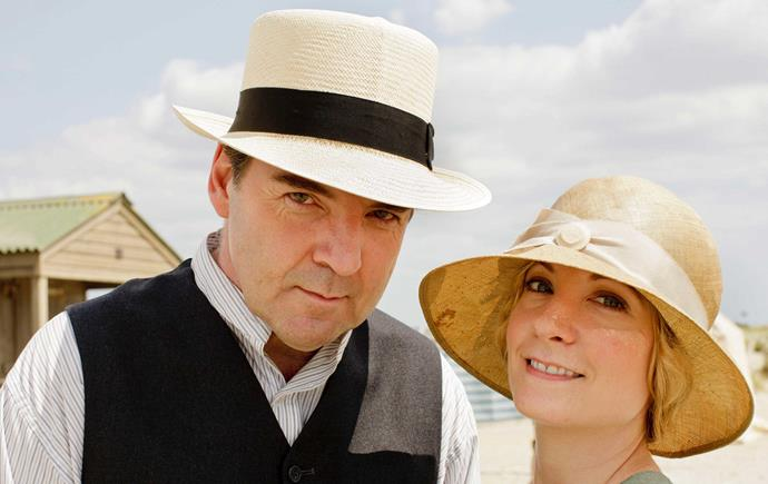 With her Downton TV husband, played by Brendan Coyle.